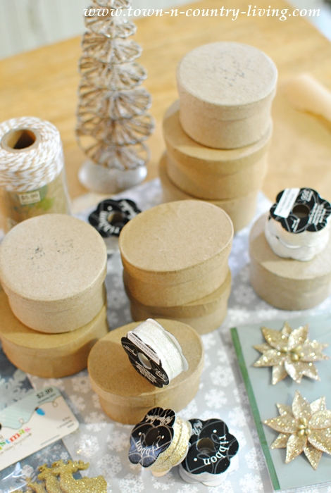 Supplies needed to make Mini Christmas Box Ornaments
