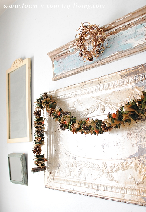 Fall Garland Strung on a Ceiling Tin