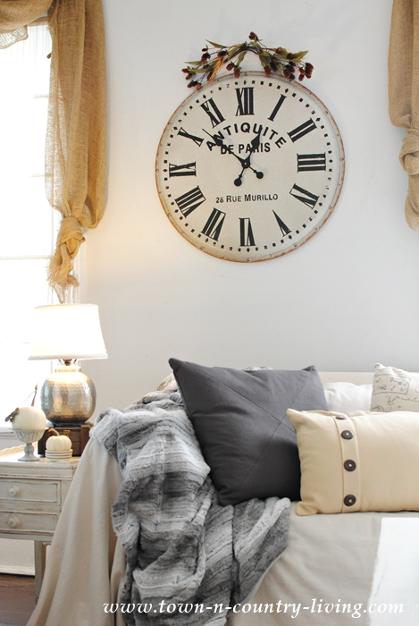 French Wall Clock in a Farmhouse Family Room