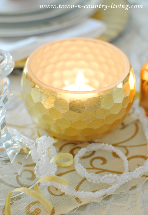 Gold and Sparkly Candleholders