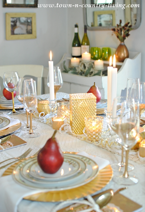 Gilded Tablescape with Pears