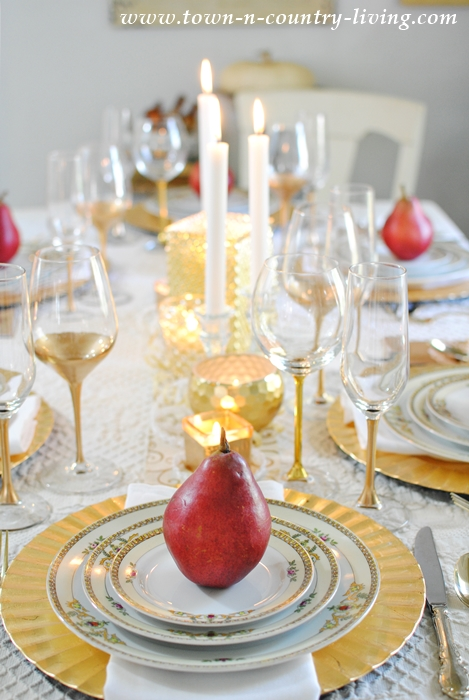 Gilded Tablescape with Vintage Meito China and Red Pears