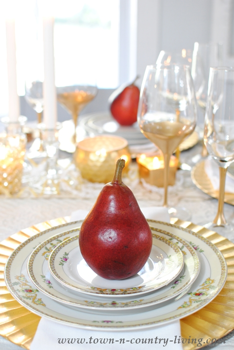 Gilded Tablescape Set with Red Pears