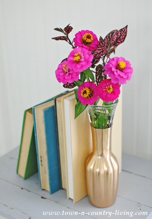 Books and Flowers in Gilded Vase