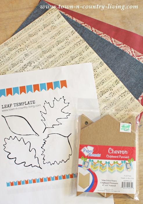 Supplies to make a leaf banner