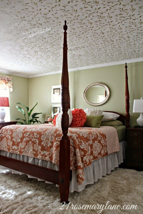 Traditional Style Master Bedroom with Stenciled Ceiling