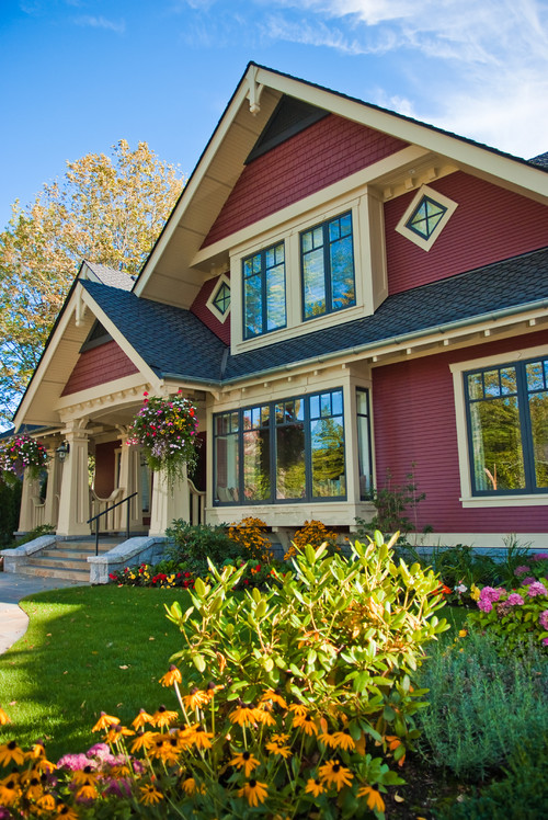 Red Craftsman Style Home