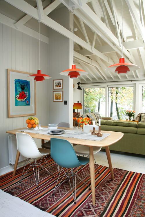 Mid Century Modern Dining Room in Modern Cabin