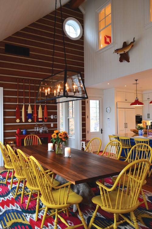 Rustic Dining Room with Colorful Windsor Chairs