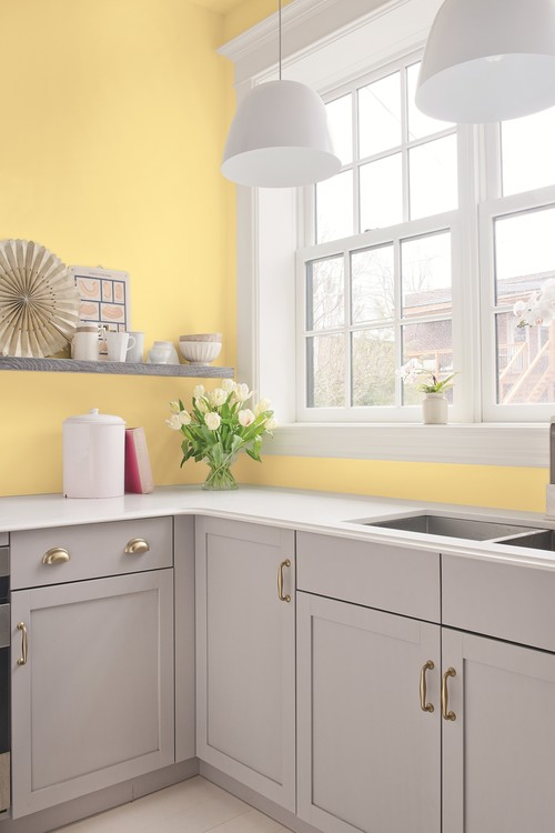 Cottage Kitchen in Yellow and Gray