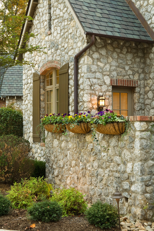 Stone Cottage with Charming Flower Boxes