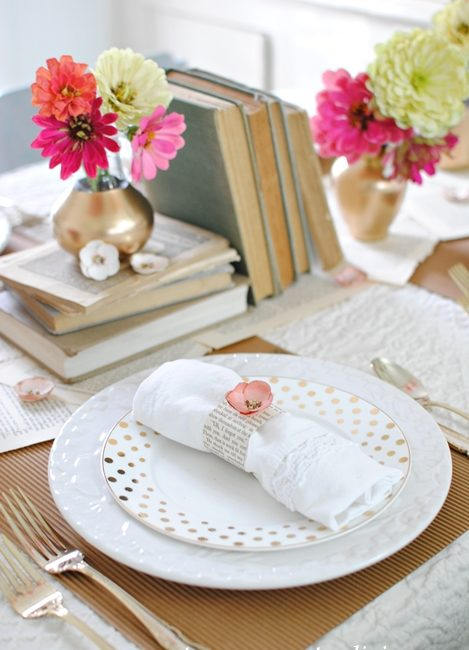 Vintage Books and Garden Flowers Create a Casual Table Setting