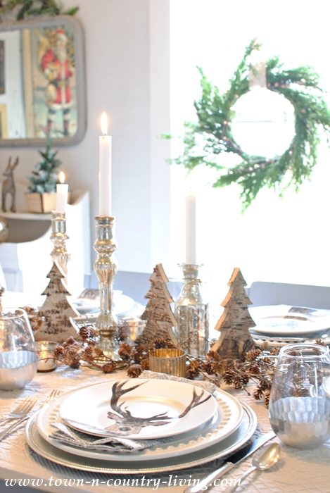 Christmas Table Setting with Stag Head Plates