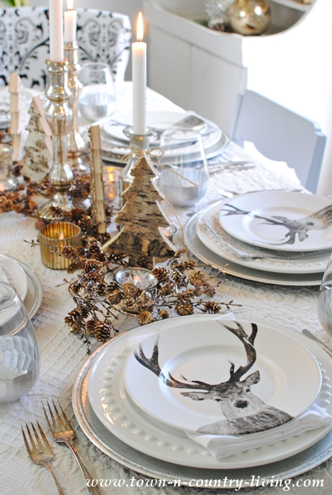deer table setting for christmas entertaining town