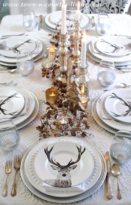 Deer Table Setting for Christmas Entertaining