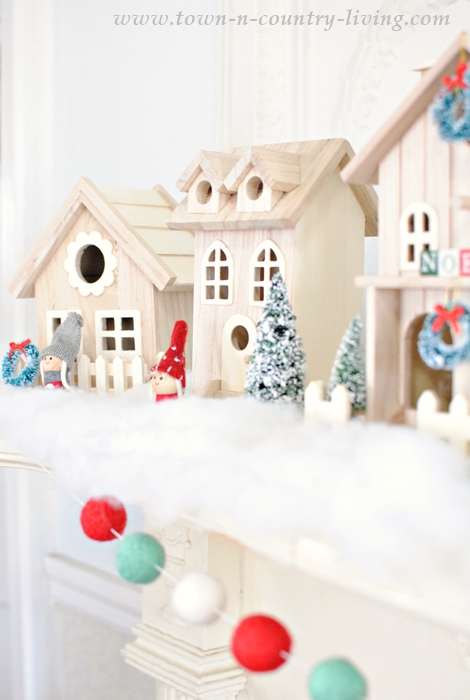 A Snowy Village for a Christmas Mantel