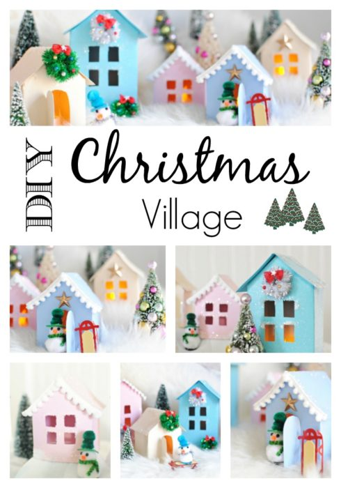 Christmas Village. Make Your Own with the Free House Template