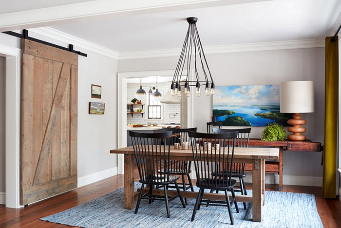 Farmhouse Dining Room with Windsor Chairs