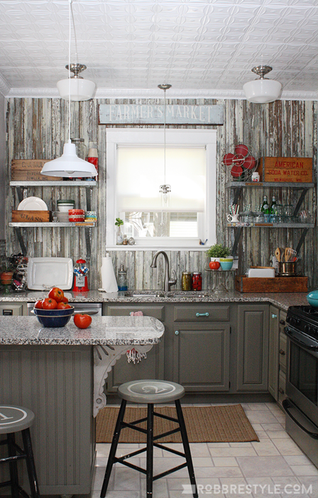 Farmhouse Kitchen Pairs Rustic Style with Retro