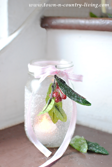 DIY Frosted Mason Jar Votives for Christmas