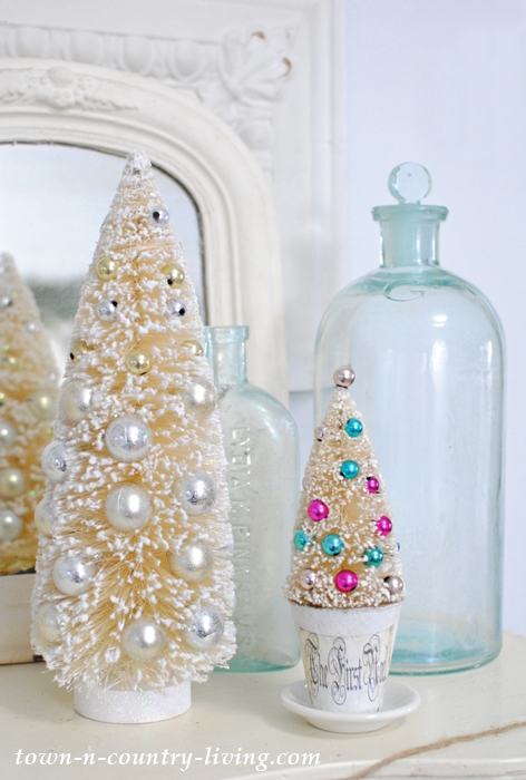 Bottle Brush Christmas Trees and Vintage Aqua Bottles
