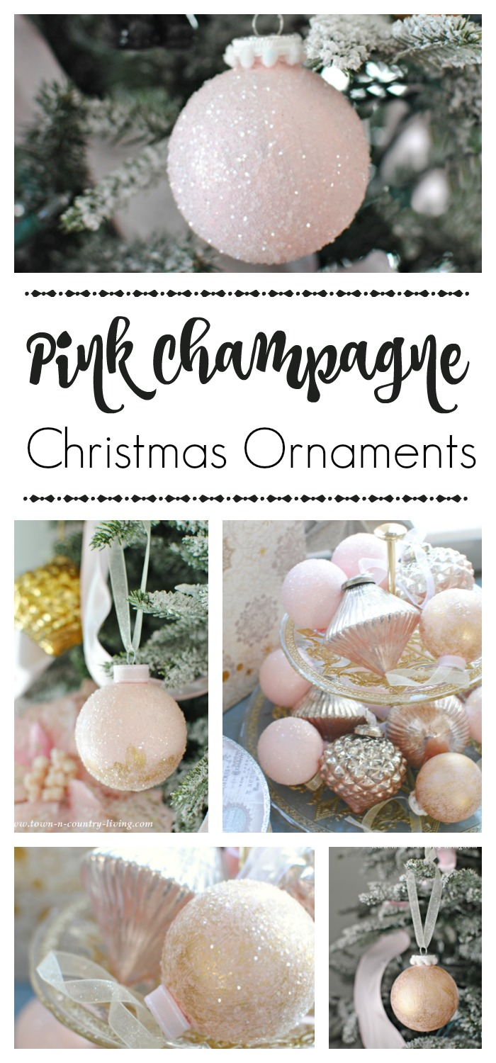 Diy Pink Champagne Christmas Ornaments Town Country Living