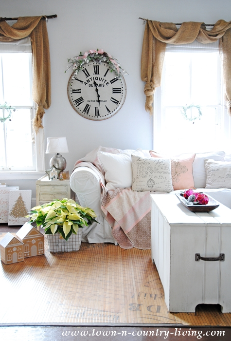 Farmhouse Family Room Decorated in Pink for Christmas