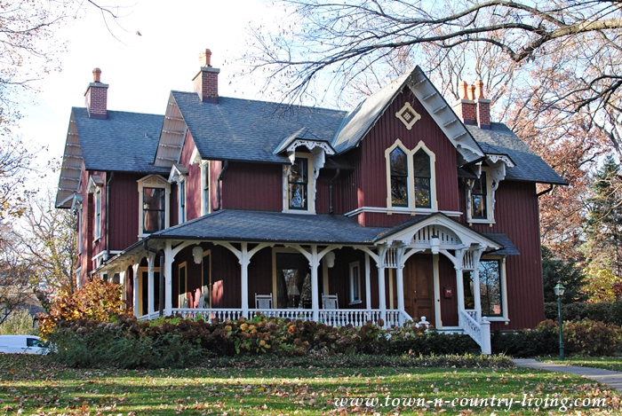 Red Victorian in a Group of Charming Older Homes. Riverside, IL.