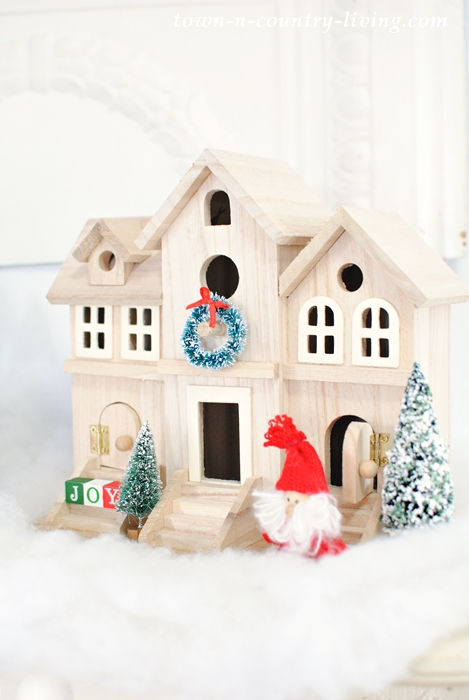 Scandinavian Village for a Christmas Mantel