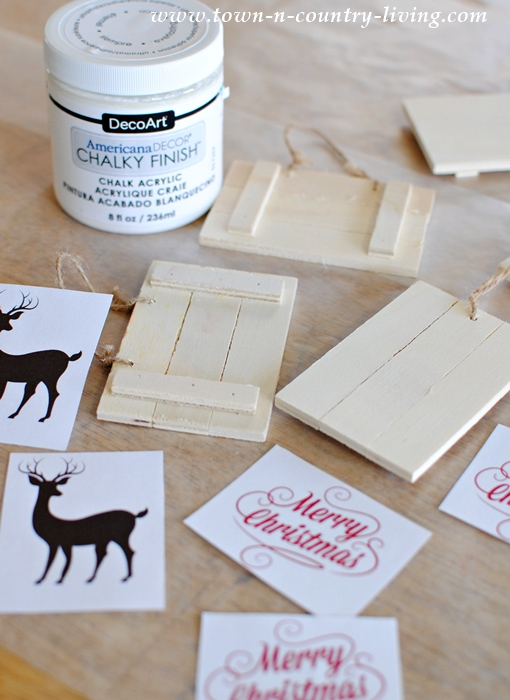 Supplies to make wooden Christmas ornaments