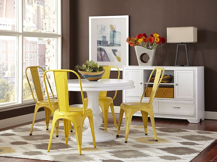 Bright Yellow Chairs in a Charming Breakfast Nook