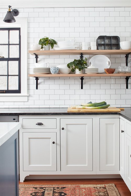 Farmhouse Kitchen with Open Shelving
