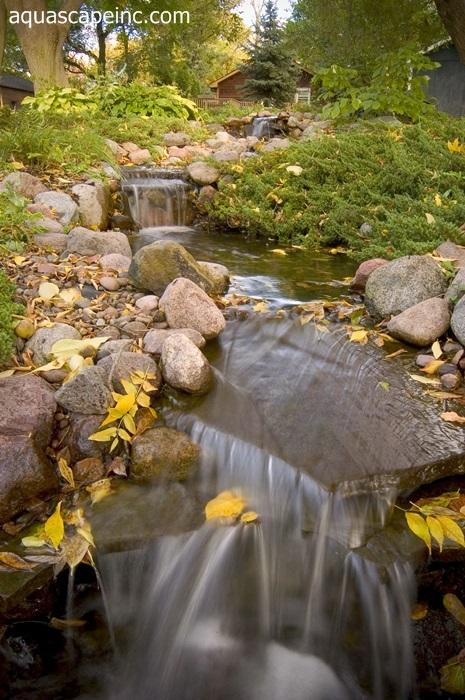 Fall Landscape with Backyard Waterfall