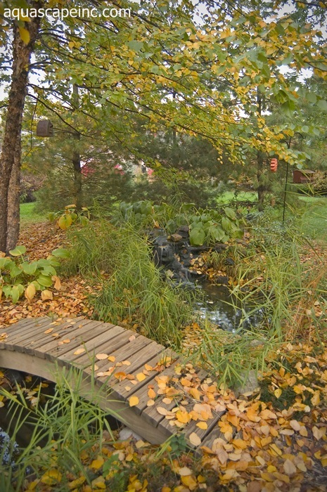 Fall Landscape Features Aquascape Waterfall with Wood Bridge