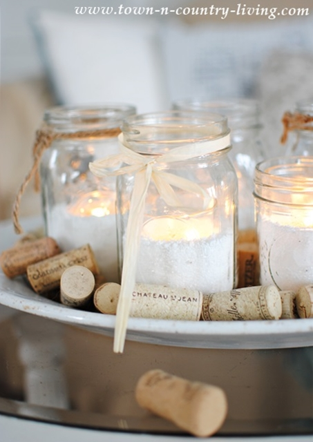Mason Jar Votives and Other Winter Decorating Ideas