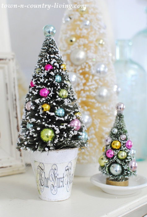bottle brush tree in altered paper mache pot - Bottle Brush Christmas Trees