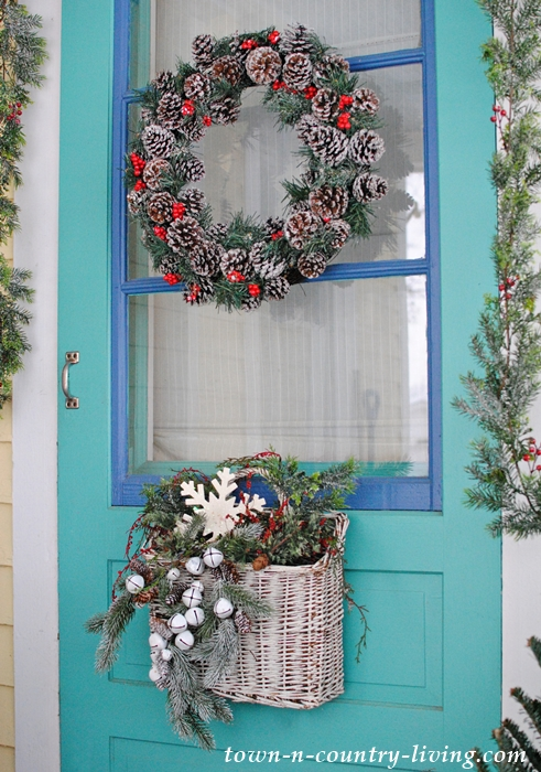 Farmhouse Porch Decorated for Christmas