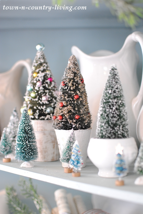 bottle brush trees in paper mache pots - Bottle Brush Christmas Trees
