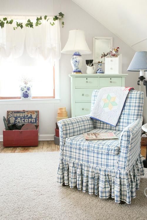 Blue and White Bedroom in Colorful Country House