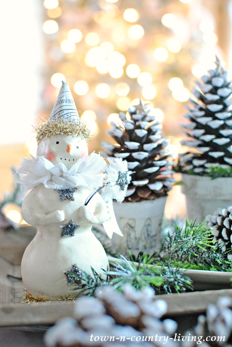 Paper Clay Snowman with Pine Cone Christmas Trees