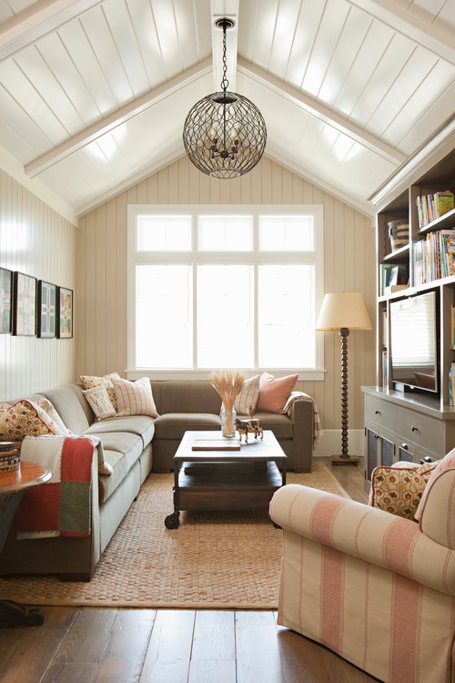 Traditional Family Room with Vaulted Ceiling