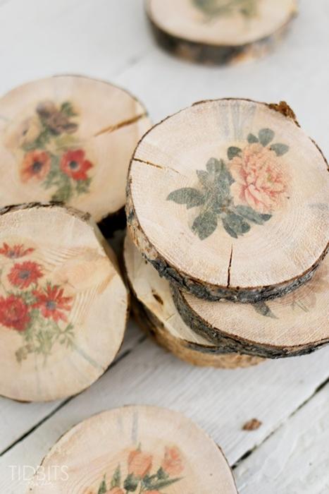 Botanical Wood Slices by Cami at Tidbits