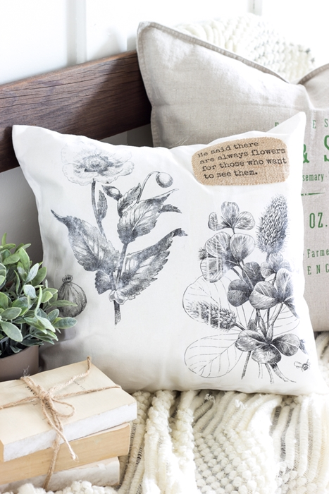 Vintage Botanical Print Pillow by Bless'er House
