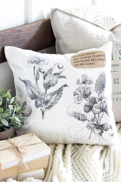 Vintage Botanical Print Pillow by Bless'er House