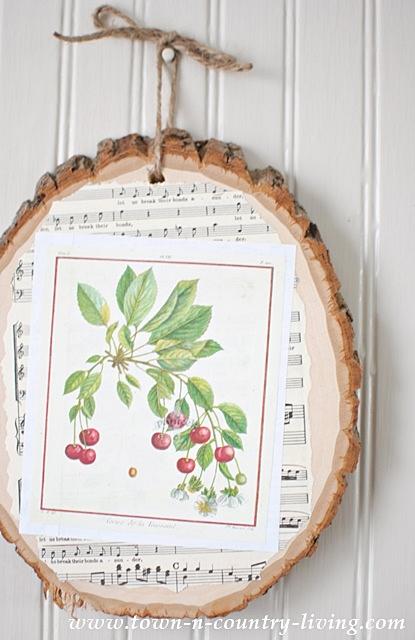 Decoupaged Wood Slice Art Using Botanic Prints