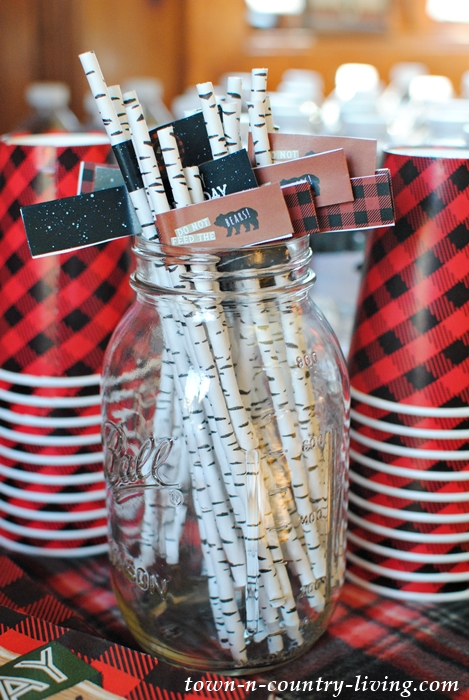 Birch Bark Straws with Bear Flags
