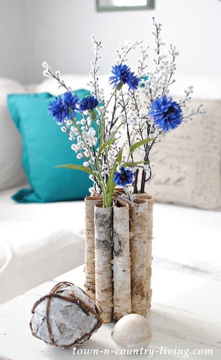 Birch Bark Vase Adds Natural Element to Farmhouse Family Room