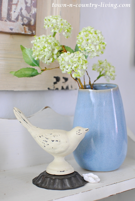 Little Blue Vase and a White Iron Bird. Creating Farmhouse Vignettes.