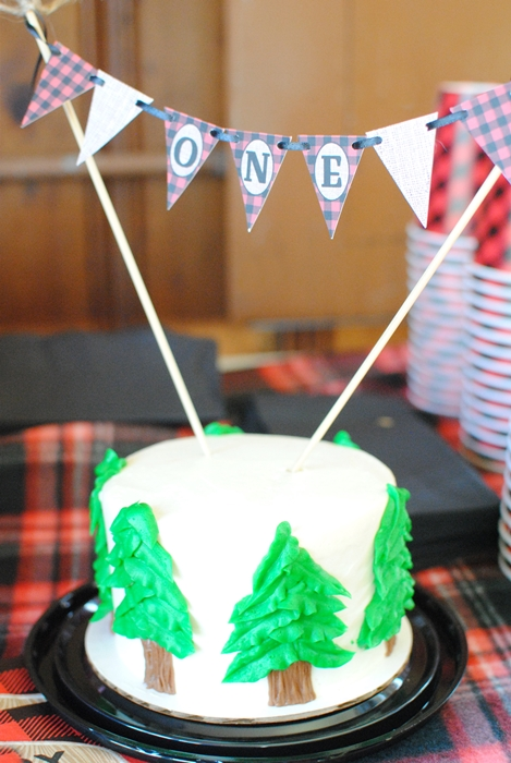 Lumberjack Party Cake for First Birthday