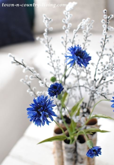 Blue and White Flowers for Winter Decorating